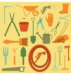 Garden work icon set Working tools vector image