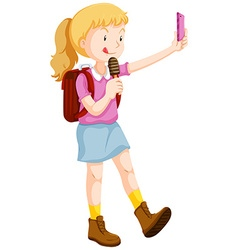 Girl taking selfie and eating icecream vector image vector image