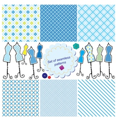 Set of Seamless checkered patterns and mannequins vector image vector image