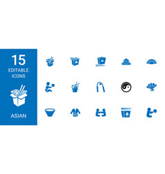 15 asian icons vector