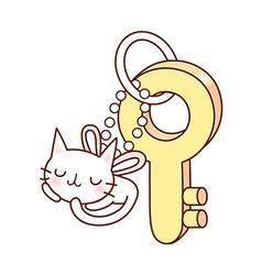 A cat shaped key ring vector image vector image