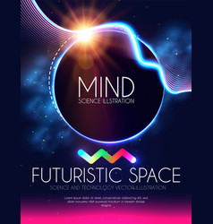 Abstract geometric banner with neon lights trendy vector