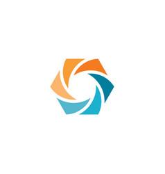 abstract hexagon round logo symbol design vector image