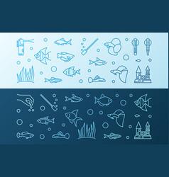 aquarium colored horizontal banners in vector image