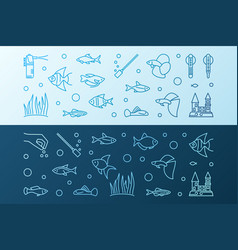 aquarium colored horizontal banners vector image