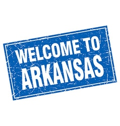Arkansas blue square grunge welcome to stamp vector