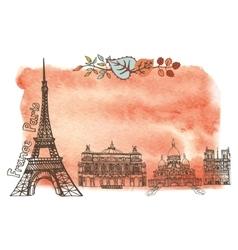 Autumn in ParisLandmarksleaveswatercolor splash vector image vector image