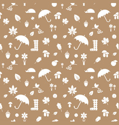 autumn silhouettes pattern beige vector image
