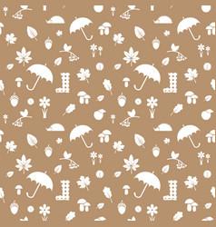 Autumn silhouettes pattern beige vector