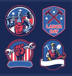 badge collection of american labor day vector image