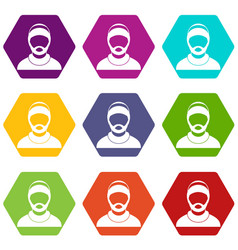 bearded man avatar icon set color hexahedron vector image