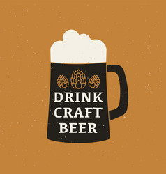 beer mug with text craft beer poster design vector image