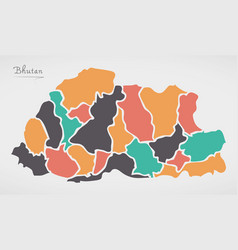 Bhutan map with states and modern round shapes vector
