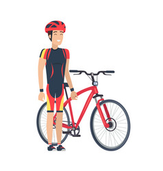 bicycle and man with helmet vector image