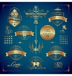 Big set of classic wedding vintage badges vector image