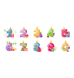 birthday anniversary numbers candle cheerful gift vector image
