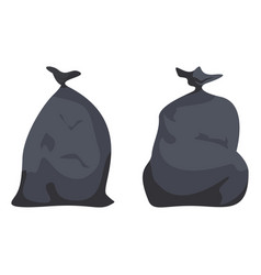 black full packages with garbage plastic bags vector image