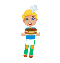 boy holding chocolate party cake cute kid in vector image
