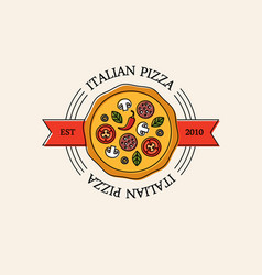 bright italian pizza logo vector image