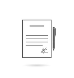 business contract flat design with pen stylish vector image