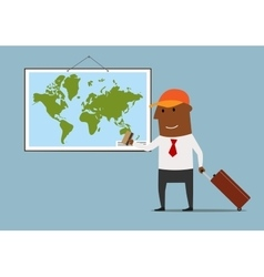 Businessman planning vacation with credit card vector image