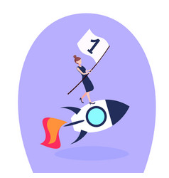 Businesswoman flying space rocket first place flag vector