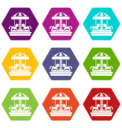 carousel with horses icon set color hexahedron vector image