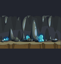 Cartoon seamless background of the dark cave vector