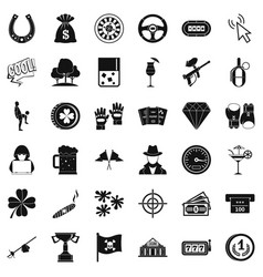 chance icons set simple style vector image