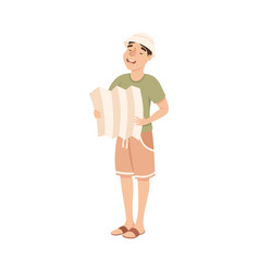 cheerful young man with map looking for route vector image