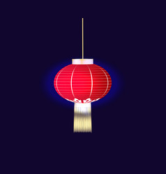 chinese red lantern isolated on blue background vector image