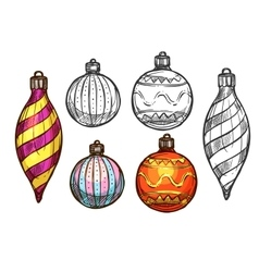 Christmas balls isolated sketch icons vector image