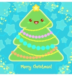 Christmas Card with Christmas Tree in Kawaii style vector image