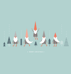 christmas gnomes in red hats vector image