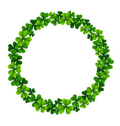 circle frame with clover leaves vector image