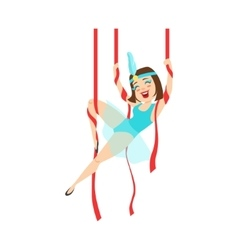 Circus Girl Acrobat In Blue Outfit Performing vector