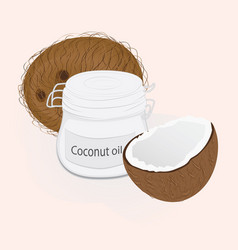 Coconut and coconat oil in a jar vector