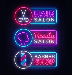 Collection neon signs hairdress barber vector