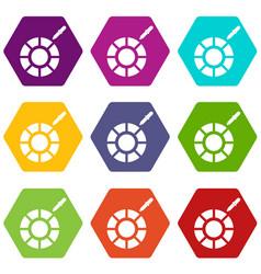 color picker icon set color hexahedron vector image