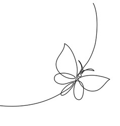 Continuous line butterfly vector