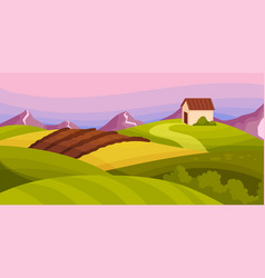 Country view with soil pasture land and winding vector