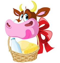 cow holding basket vector image