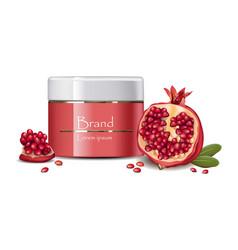 cream cosmetics realistic mock up pomegranate vector image