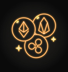 cryptocurrency altcoins neon icon in line style vector image