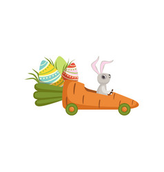 Cute little bunny driving car carrot funny rabbit vector