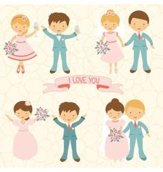 Cute wedding couple vector