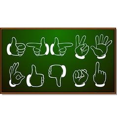 Different hand gestures on blackboard vector image