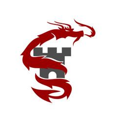 dragon castle logo design mascot template isolated vector image