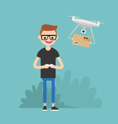 drone delivery service young character vector image