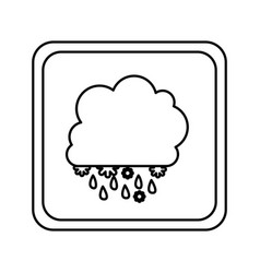 emblem cloud rainning and snowing icon vector image